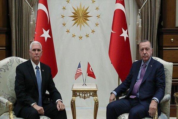 دیدار معاون ترامپ و اردوغان ، هر دو اخمو (