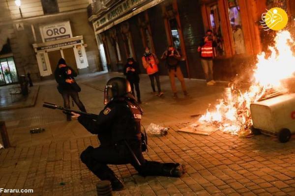 (تصاویر) آتش خشم در اسپانیا در پی بازداشت یک رپر!